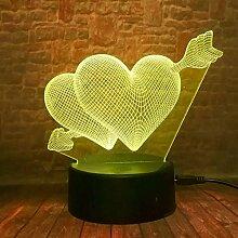 3D führte Pfeil durch das Herz Nachtlicht
