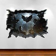 3D Full Farbe Art Wand Aufkleber Batman gebrochenen Bat Cave Superheld Kinder Schlafzimmer Aufkleber Wandbild Graphic Transfer Prin