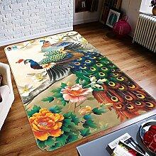 3D Gefärbt Pfau Blumen Ölgemälde 424 Rutschfest