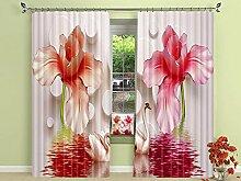 3D gelb rosa Blumen Vorhänge Dekoration