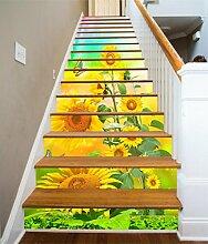 "3D Gelb Sonnenblume Schmetterling 64 Stair Risers Dekoration Fototapete Vinyl Aufkleber Tapete DE Carly (15x H:18cm x W:102cm (7""x40""))"