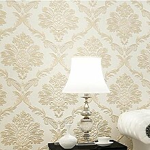 3D Geprägte Damaskus Vliestapete Europäische Wohnzimmer Schlafzimmer Home Wallpaper , light beige