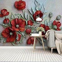3D geprägte rote Blume Modernes Wandbild