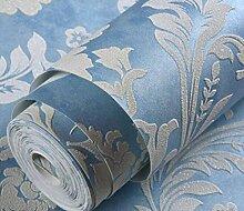 3D Geprägte Vliestapete Wohnzimmer Im Europäischen Stil Restaurant Schlafzimmer Studio Hintergrund Vintage Tapete,Blue