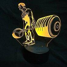 3D Gewichtheben Lampe USB Power 7 Farben Amazing
