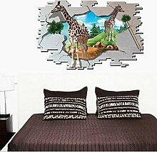 3D Giraffen Wand Aufkleber Home Aufkleber PVC Wandmalereien, Vinyl, Papier, House Dekoration Tapete Wohnzimmer Schlafzimmer Küche Kunst Bild DIY für Kinder Teen Senior Erwachsene Kinderzimmer Baby