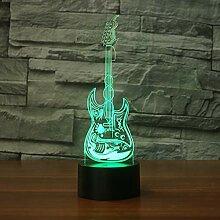 3D Gitarre Optische Illusions Lampe 7 Farben