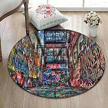 3D Graffiti Straße Wand Rutschfest maschinenwaschbar runde Fläche Teppich Wohnzimmer Schlafzimmer Badezimmer Küche weich Teppich Bodenmatte Inneneinrichtungen 100x100 CM