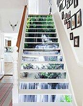 "3D Grüne Bäume Stream 770 Stair Risers Dekoration Fototapete Vinyl Aufkleber Tapete DE Lemon (13x H:18cm x W:94cm (7""x37""))"
