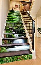 "3D Grüne Bäume Wasserfall 490 Stair Risers Dekoration Fototapete Vinyl Aufkleber Tapete DE Carly (15x H:18cm x W:94cm (7""x37""))"