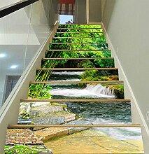 "3D Grüner Bambus Fluss 508 Stair Risers Dekoration Fototapete Vinyl Aufkleber Tapete DE Carly (13x H:18cm x W:94cm (7""x37""))"