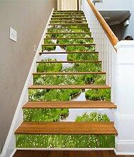 """3D Grünes Gras Pflanze 5 Stair Risers Dekoration Fototapete Vinyl Aufkleber Tapete DE Carly (15x H:18cm x W:94cm (7""""x37""""))"""