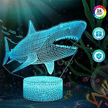 3D Hai Lampe LED Nachtlicht mit Fernbedienung,