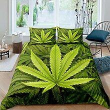 3D Hanfblätter Bettwäsche-Set Cannabis Sativa
