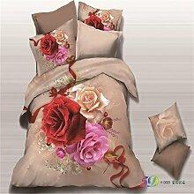 3D Herbst setzen Leinen Baumwolle K?per vier Set Abdeckung Rosen 4 personalisierte Bettw?sche Tiger , Rose , 180*200cm