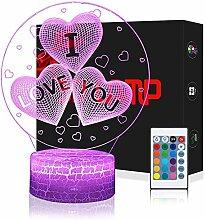 3D Herz I Love You Lampe LED Nachtlicht mit
