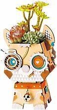 3D-Hölzerne Niedliche Robotik-Blumentopf