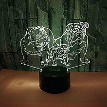 3D Hund Lampe USB Power 7 Farben Amazing Optical