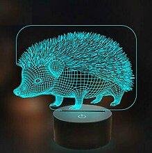 3D Igel Nachtlicht 3D Illusionslampe USB 7 Arten