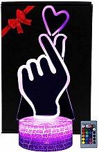 3D Illusion Finger Herz Lampe Schreibtisch