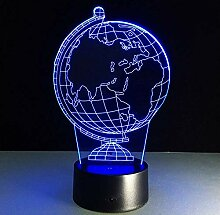 3D Illusion Lampe 7 Farbwechsel Globus Modell