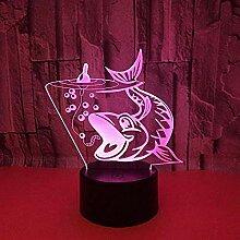 3D Illusion Lampe Angeln Karpfen 3D Light Touch
