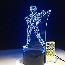 3D Illusion Lampe Default Girl Haut Super Woman