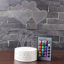 3D Illusion Lampe Herz Love LED Nachtlampe mit