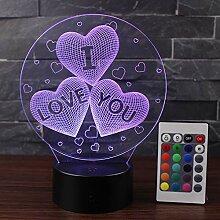 3D Illusion Lampe I Love You Herz LED Nachtlampe