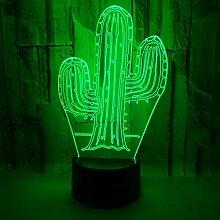 3D Illusion Lampe Kaktus Acryl 3D Tischlampen Für