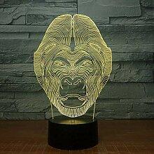 3D Illusion Lampe Led Tier Gorilla Kopf Nachtlicht