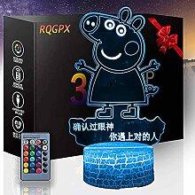 3D Illusion Nachtlampe Cartoons Schwein Touch LED