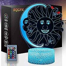 3D Illusion Nachtlicht Sonne und Mond Touch LED