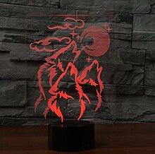3D Illusion Nachtlicht Wolf für Kinder Erwachsene