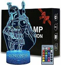 3D-Illusion Star Wars Boba fettes Nachtlicht,
