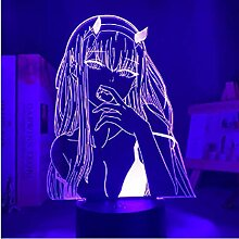 3D-Illusions-Lampe, LED-Nachtlicht, Anime-Null,