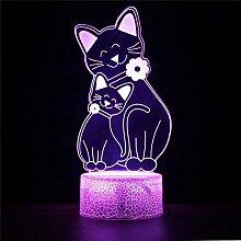 3D-Illusions-LED-Lampe, 3D-Nachtlicht, Katze, 16