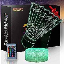 3D-Illusionslampe, Badminton-Lampe,