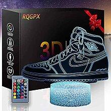 3D-Illusionslampe, Basketballschuhe, Nachtlicht,