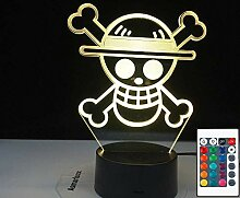 3D Illusionslampe LED Nachtlicht Anime One Piece