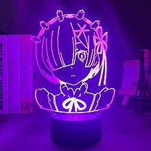 3D Illusionslampe LED Nachtlicht Anime Rem Re Zero