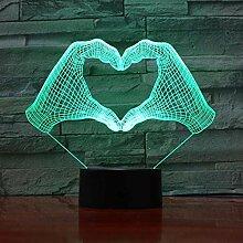 3D Illusionslampe Led Nachtlicht Liebe Herz Hand