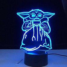 3D Illusionslampe LED Nachtlicht Mini Yoda Meme