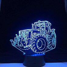 3D Illusionslampe LED Nachtlicht Traktor Auto