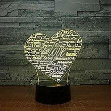 3D Illusionslampe Liebe Buntes 3D Nachtlicht