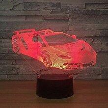3D-Illusionslampe Sportwagen 3D-Lampe 7-farbige