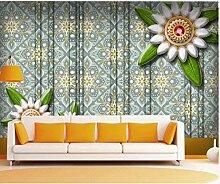 3D Juwel Blumentapetenmuster Hintergrund 3D