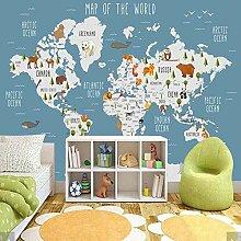 3D Karton Tier Weltkarte Tapete Wandbild Für