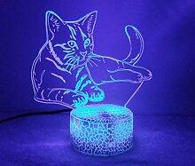 3D Katze Lampe USB Power 7 Farben Amazing Optical
