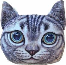 3D Katzenkopf Kissenbezug Süß Sofa-Kissen Plüsch Cushion Cover Kissenhülle Puppe